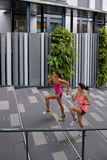 Fitness women running steps stock photos