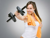 Fitness women showing for you dumbbell Royalty Free Stock Images