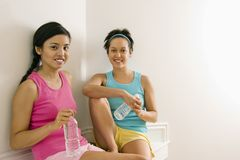 Fitness women taking break Stock Images