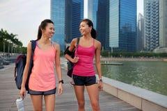 Fitness women walking stock photo