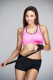 Fitness Women With Workout Resitance Straps Stock Image