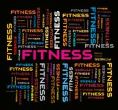 Fitness Word Cloud Image, Concept Background royalty free illustration