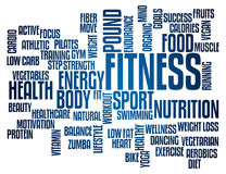 Fitness Word Cloud. Tag Cloud for the Topic of Fitness and Health Stock Photos