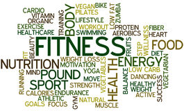 Fitness Word Cloud. Tag Cloud for the Topic of Fitness and Health Royalty Free Stock Images