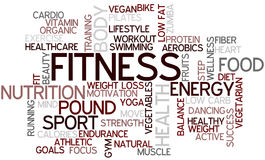 Fitness Word Cloud. Tag Cloud for the Topic of Fitness and Health Stock Photography