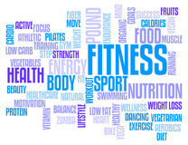 Fitness Word Cloud. Tag Cloud for the Topic of Fitness and Health Stock Photo