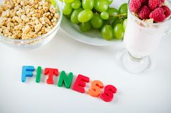 Fitness word made up of letters with magnets Stock Photo