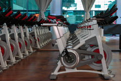 Fitness Workout in Gym: Group of Modern Spinning Bikes in Line.  royalty free stock photography