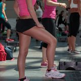 Fitness Workout in Gym: Women doing Exercises in Class with Step Stock Photos