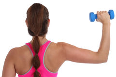 Fitness workout woman exercise back view shoulder sports with du. Mbbells isolated on a white background Stock Photos