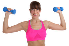 Fitness workout woman at sports training with dumbbells exercise. Back shoulder isolated on a white background Stock Photography