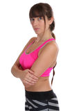 Fitness workout woman at sports training portrait isolated. On a white background Stock Photos