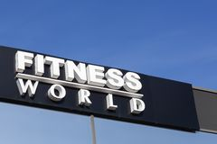 Fitness World logo on a wall