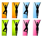 Fitness Yoga or Dance Borders. An illustration featuring 8 different fitness/yoga/dance silhouettes in different poses ideal as borders in bright colours of Royalty Free Stock Photos