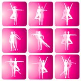 Fitness Yoga Dance Silhouette Icons Royalty Free Stock Photography