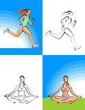 Fitness and Yoga Girl. The beautiful girl is engaged in fitness and yoga, runs and meditates Royalty Free Stock Photo