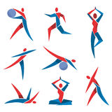 Fitness yoga icons. Royalty Free Stock Images