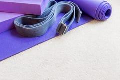 Fitness yoga pilates equipment props on carpet Stock Image