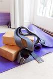Fitness yoga pilates equipment props on carpet Royalty Free Stock Photo