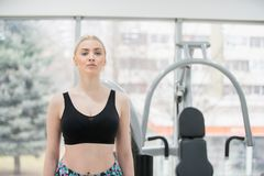 Fitness young woman doing exercise workout at crossfit royalty free stock photo