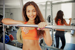 Fitness. Young girls in the gym stock photo