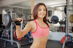 Fitness. Young girls in the gym royalty free stock photography