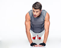 Fitness young man doing push ups Royalty Free Stock Photography