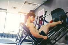 Fitness young man exercising using rowing machine in the gym.  Royalty Free Stock Image
