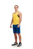 Fitness young man. full length. Portrait of a athletic man. full length over a white background stock photography