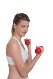 Fitness – Young sportive woman with weights Royalty Free Stock Photo
