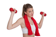 Fitness – Young sportive woman with weights Stock Photography