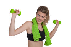 Fitness – Young sportive woman with weights Royalty Free Stock Image