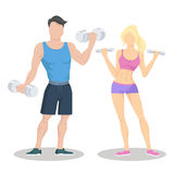 Fitness young sporty couple with dumbbells. Fit couple. Workout partners. Flat vector illustration Royalty Free Stock Image