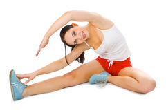Fitness young woman. On white background royalty free stock images