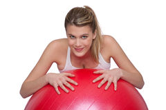 Fitness – Young woman with exercise ball on whit Stock Image