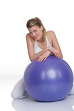 Fitness – Young woman with exercise ball on whit Stock Photos