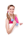 Fitness young woman holding the blank board stock images