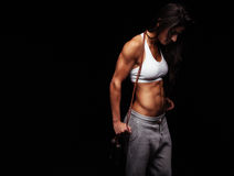 Fitness young woman with a jump rope Stock Images