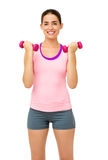 Fitness Young Woman Lifting Dumbbells Stock Image