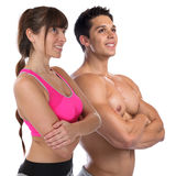 Fitness young woman man fit bodybuilder bodybuilding muscles bod Stock Images