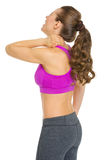 Fitness young woman with neck pain Stock Photos