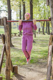 Fitness Young Woman Outdoor Exercising Stock Photos