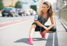 Fitness young woman outdoors in the city Royalty Free Stock Photography