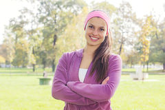 Fitness Young Woman Portrait Outdoor Stock Image