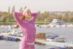 Fitness Young Woman Training Outdoor. Fitness Young Woman ,Training Outdoor, Healthy lifestyle Royalty Free Stock Photos