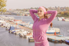 Fitness Young Woman Training Outdoor. Fitness Young Woman ,Training Outdoor, Healthy lifestyle Stock Photography