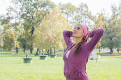 Fitness Young Woman Training Outdoor Stock Photo