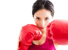 Fitness young woman  wearing red boxing gloves Stock Images
