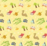 Fitr di Al di Eid o fondo di scarabocchio del fumetto di celebrazione del Ramadan per royalty illustrazione gratis