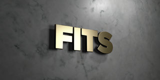 Fits - Gold sign mounted on glossy marble wall  - 3D rendered royalty free stock illustration Royalty Free Stock Image